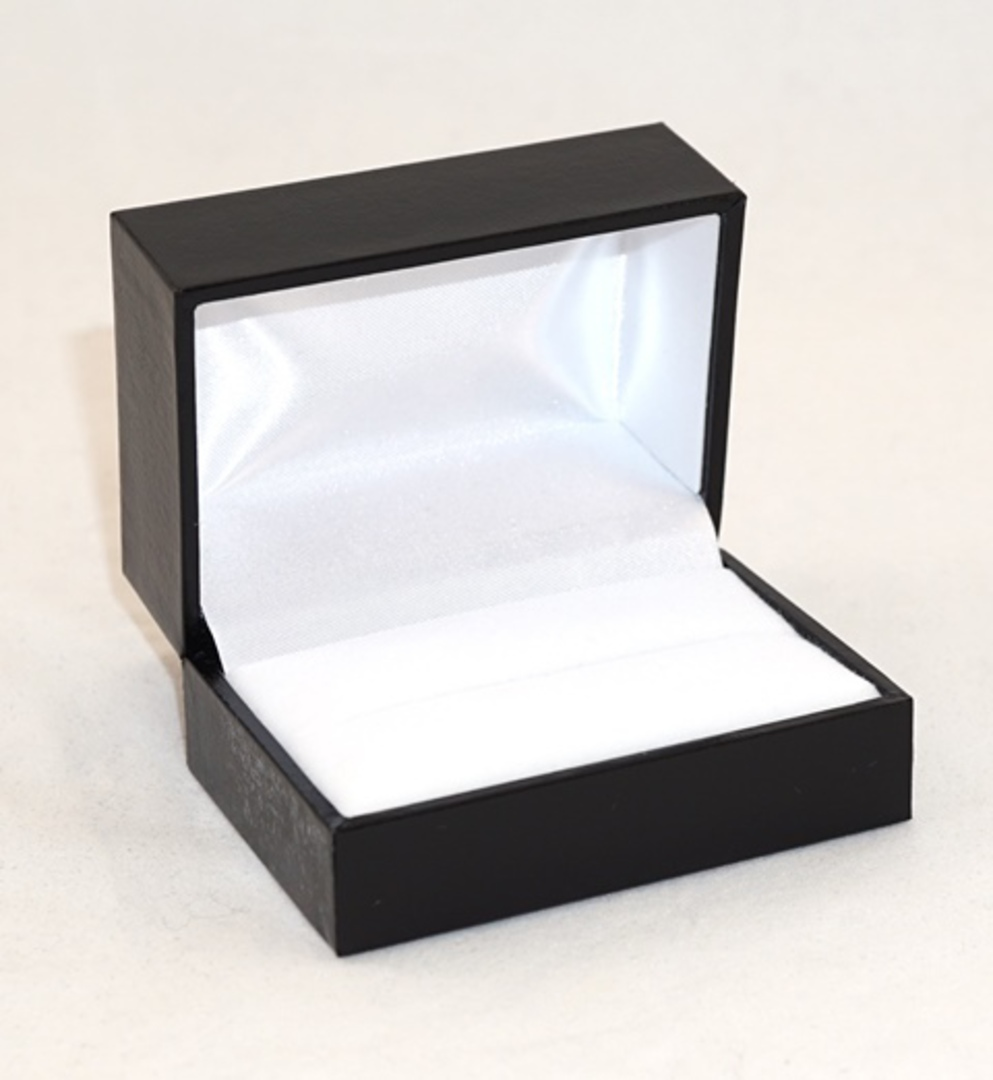 SDR2 - DOUBLE RING OR CUFFLINK BOX LEATHERETTE BLACK NO LINE WHITE PAD image 0