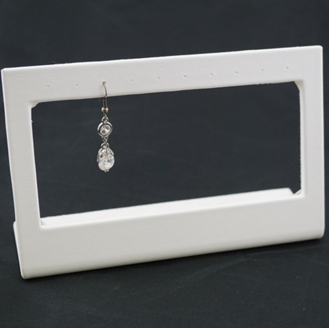 EARRING STAND 5 PAIRS DROP WHITE VINYL image 0