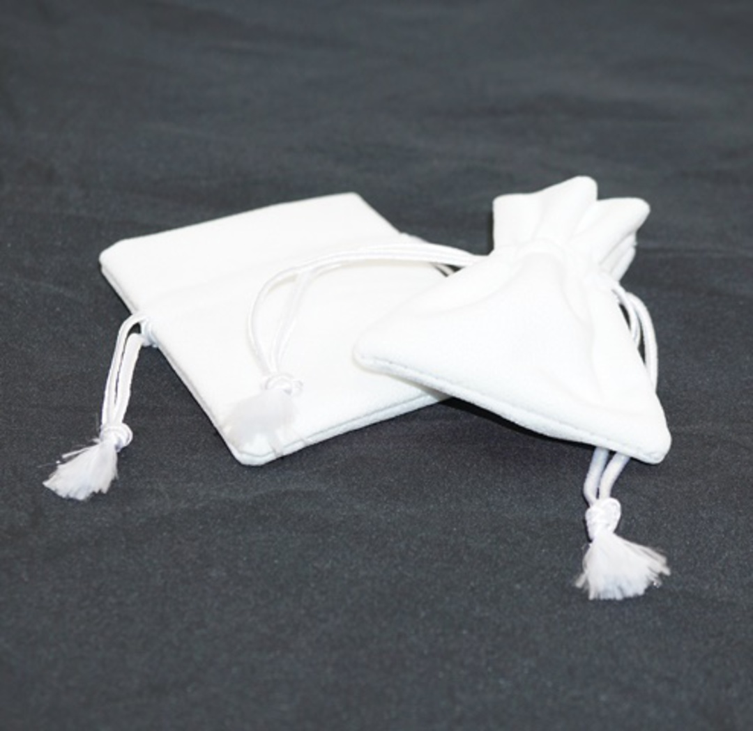 DELUXE WHITE SUEDE PARTITION POUCH SMALL image 0