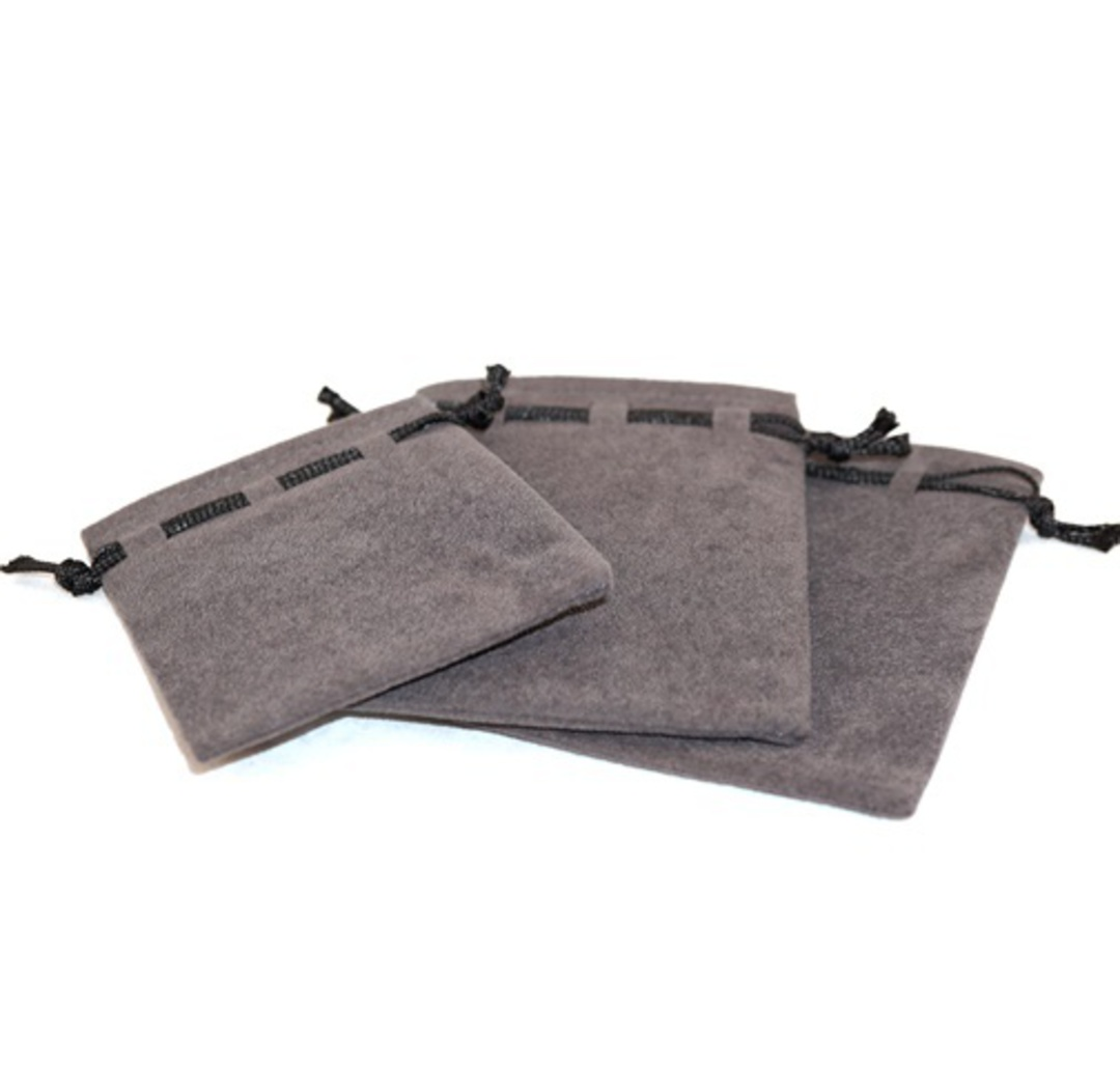 SUEDE POUCH CHARCOAL/BLACK CORD ASSORTED SIZES image 1