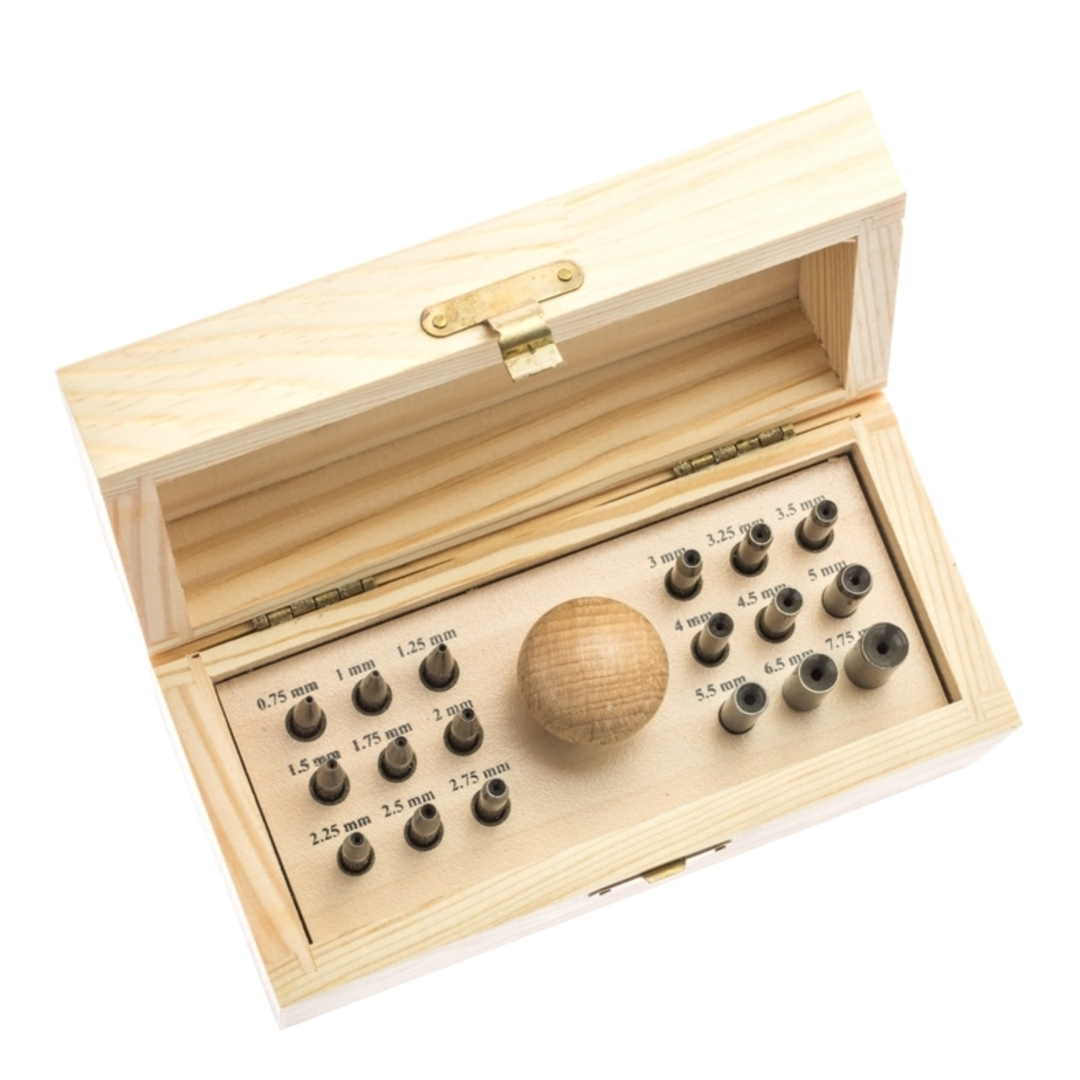 BEZEL SETTING PUNCHES - 18 PIECE WOODEN BOX image 0