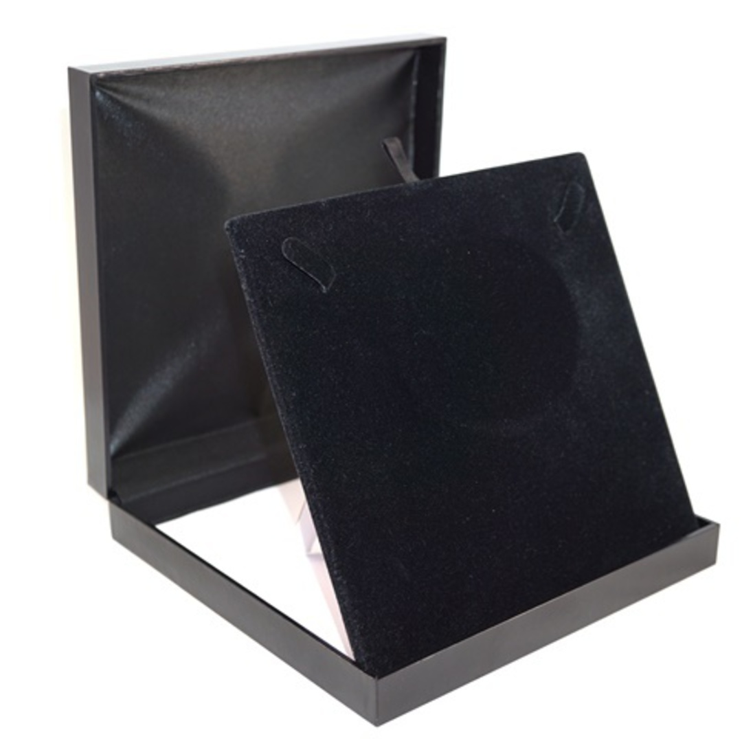 SDM - LARGE NECKLACE BOX LEATHERETTE BLACK NO LINE BLACK VELVET PAD BULK DEAL (6 PCS) image 1