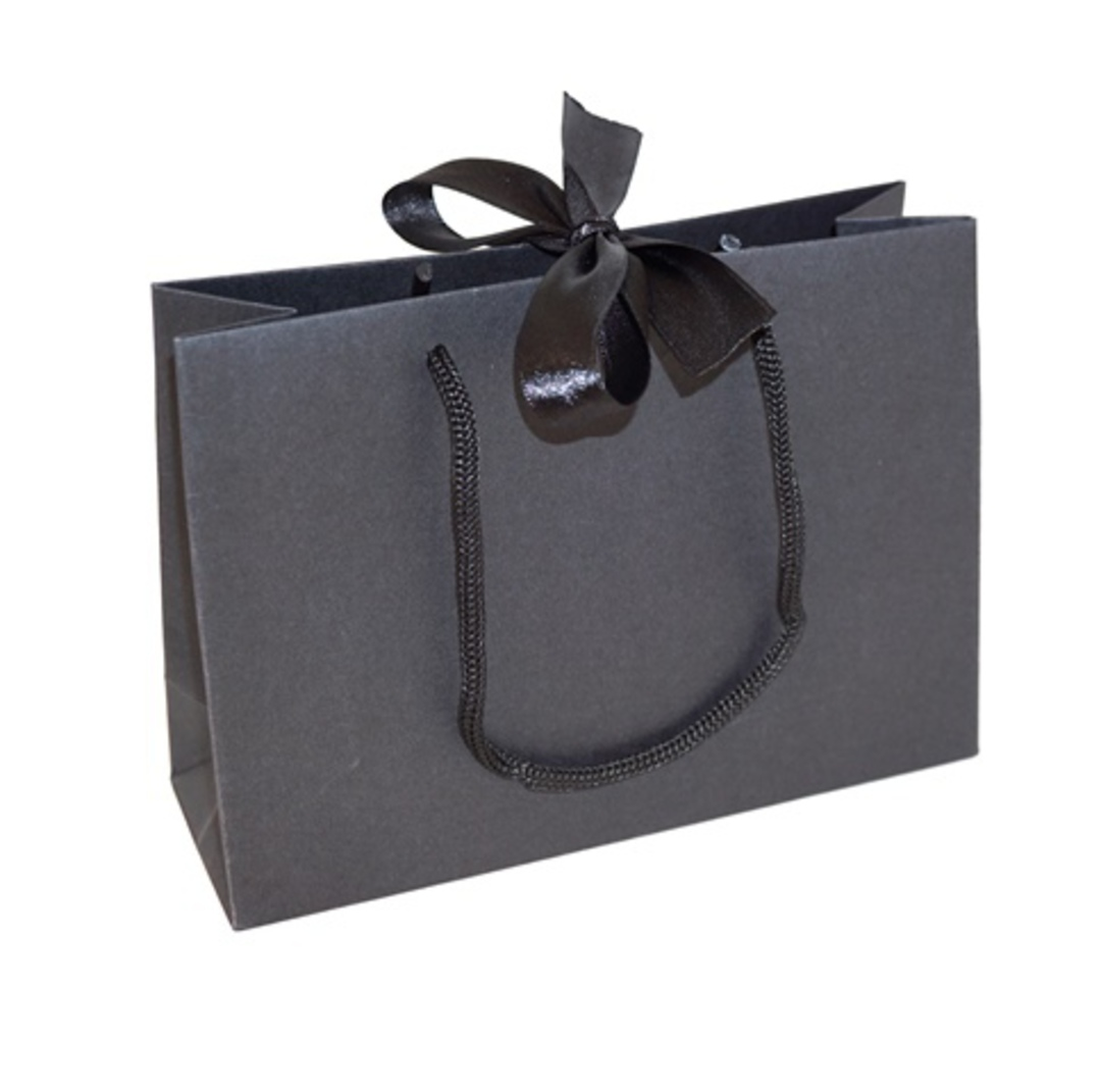 PREMIUM SMALL BLACK CARRY BAG WITH BLACK ROPE HANDLES & RIBBON TIE image 0