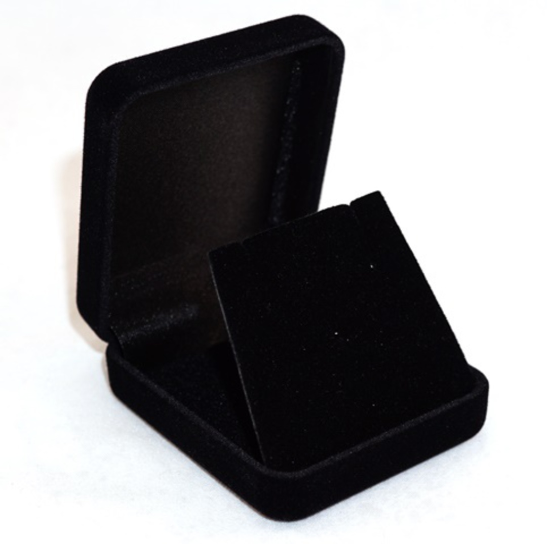 SSE - SMALL EARRING/PENDANT BOX BLACK FLOCK BLACK FLAP image 0