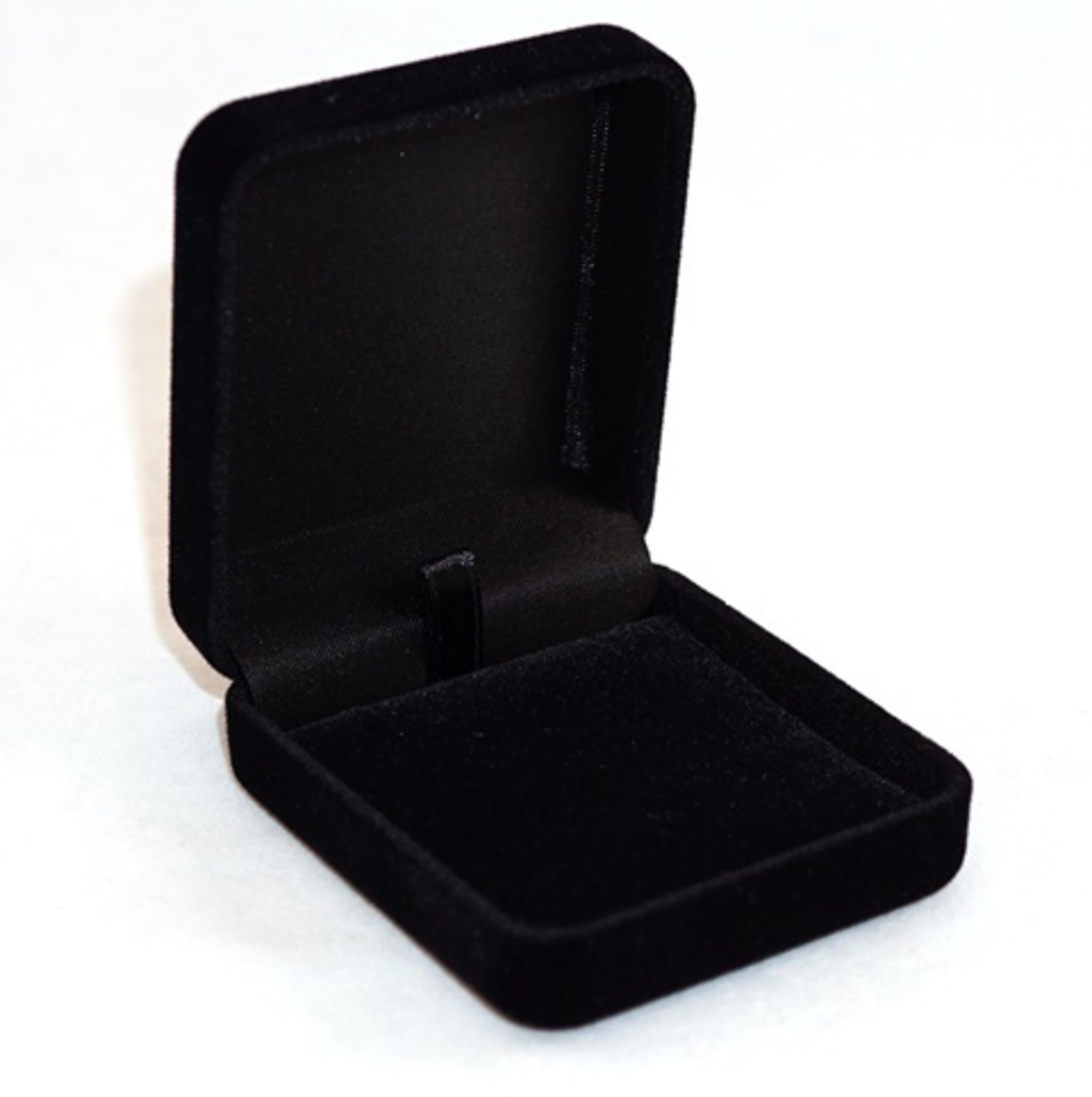 SSE - SMALL PENDANT/EARRING BOX BLACK FLOCK BLACK VELVET PAD BULK DEAL (48 PCS) image 0