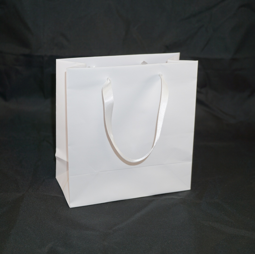 DELUXE SMALL WHITE CARRY BAG WITH WHITE RIBBON HANDLES image 0