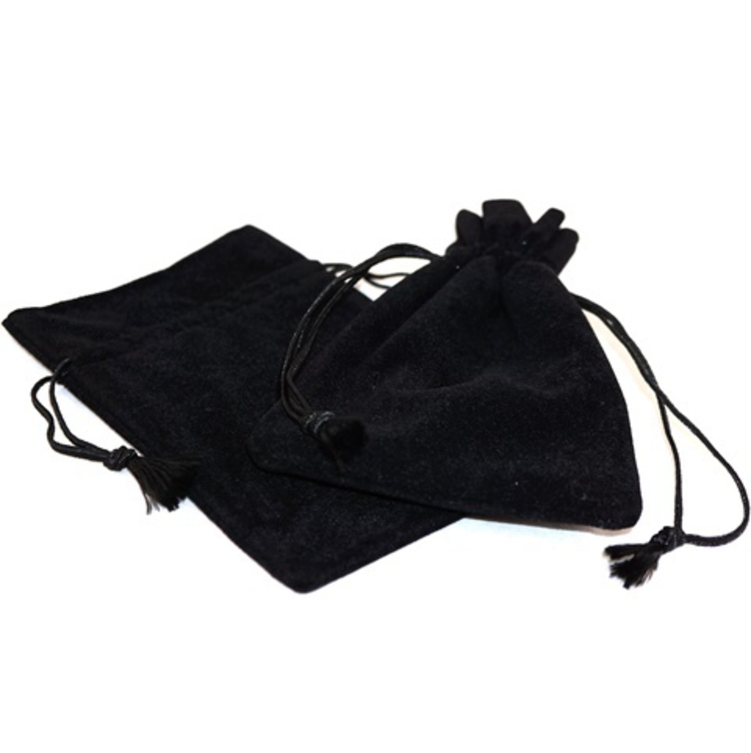 DELUXE BLACK SUEDE PARTITION POUCH LARGE image 0