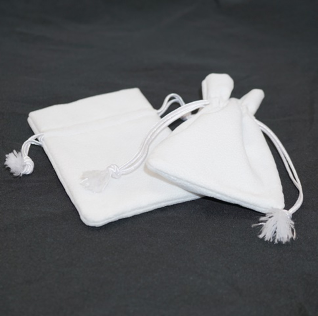 DELUXE WHITE SUEDE PARTITION POUCH MEDIUM image 0