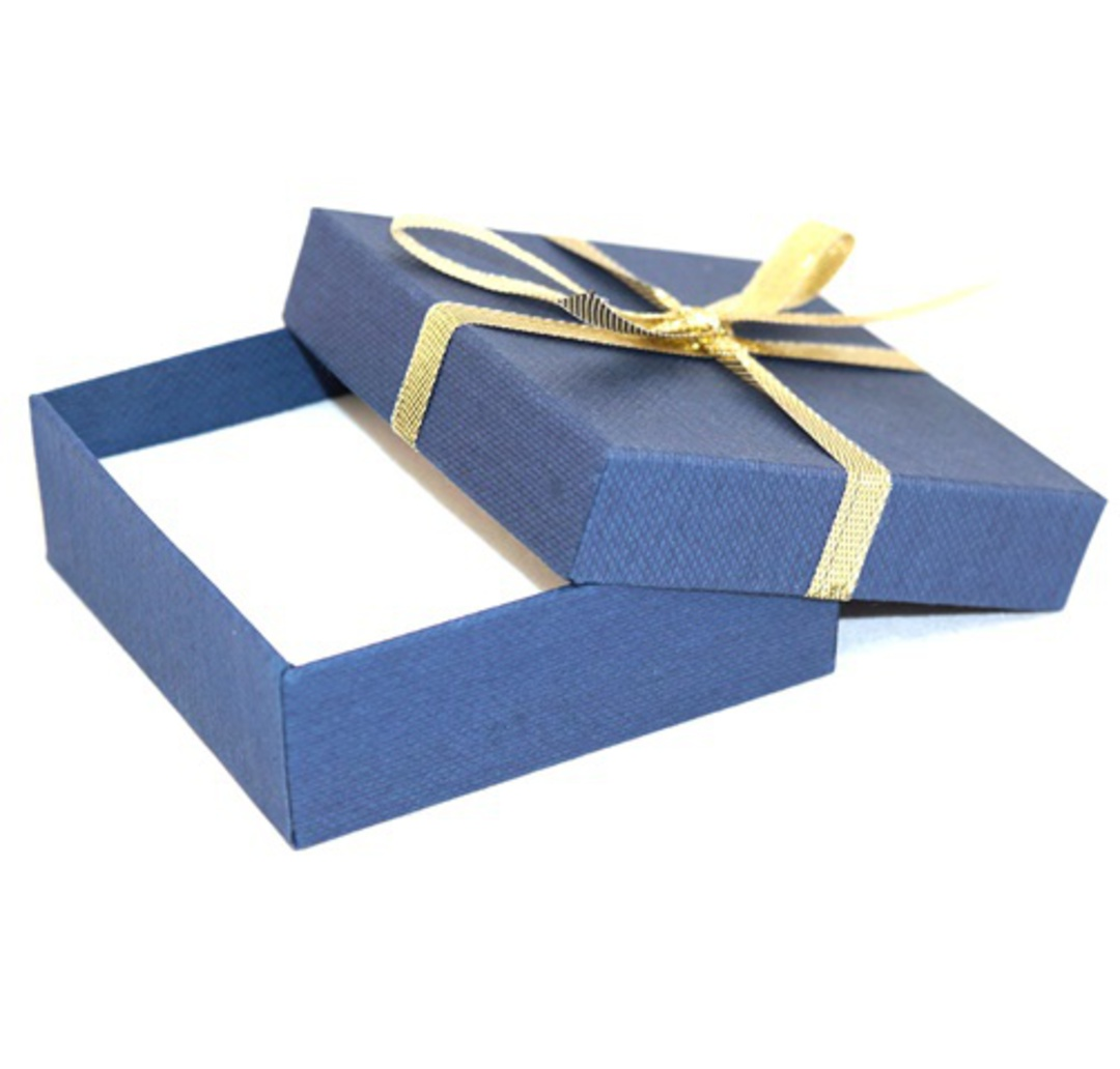 CBBM156 - MULTI BOX CARDBOARD NAVY GOLD BOW WHITE PAD BULK DEAL (36 PCS) image 1
