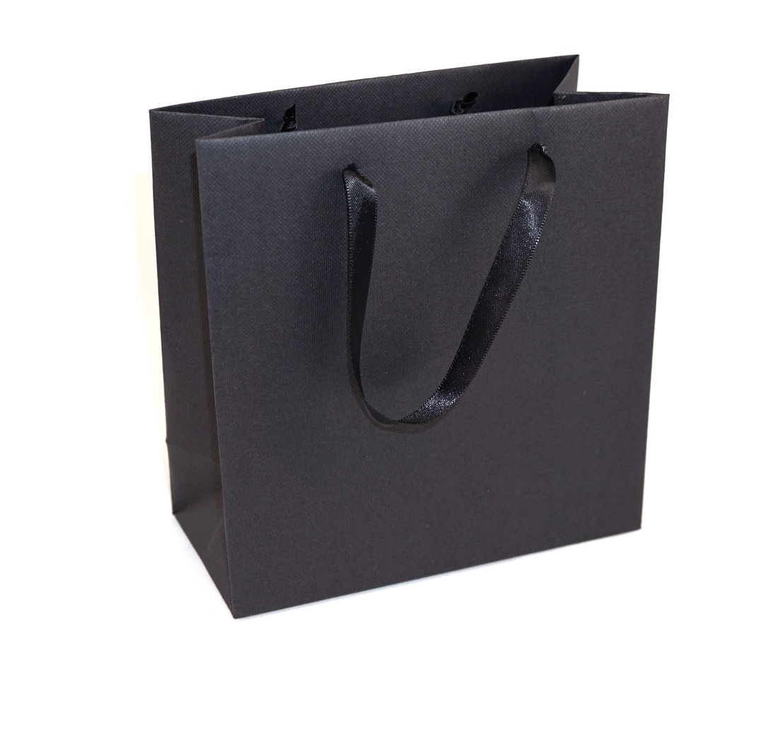 DELUXE SMALL BLACK CARRY BAG WITH BLACK RIBBON HANDLES image 0