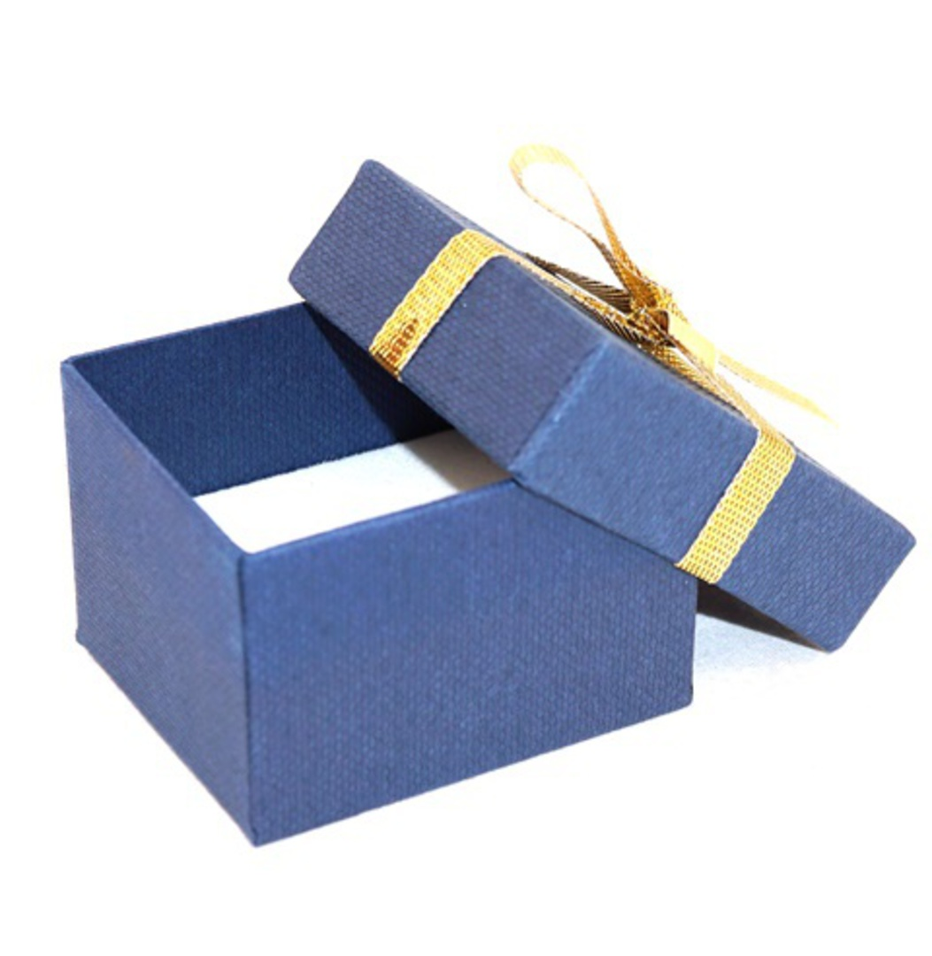 CBR156 - RING BOX CARDBOARD NAVY GOLD BOW WHITE PAD BULK DEAL (60 PCS) image 1