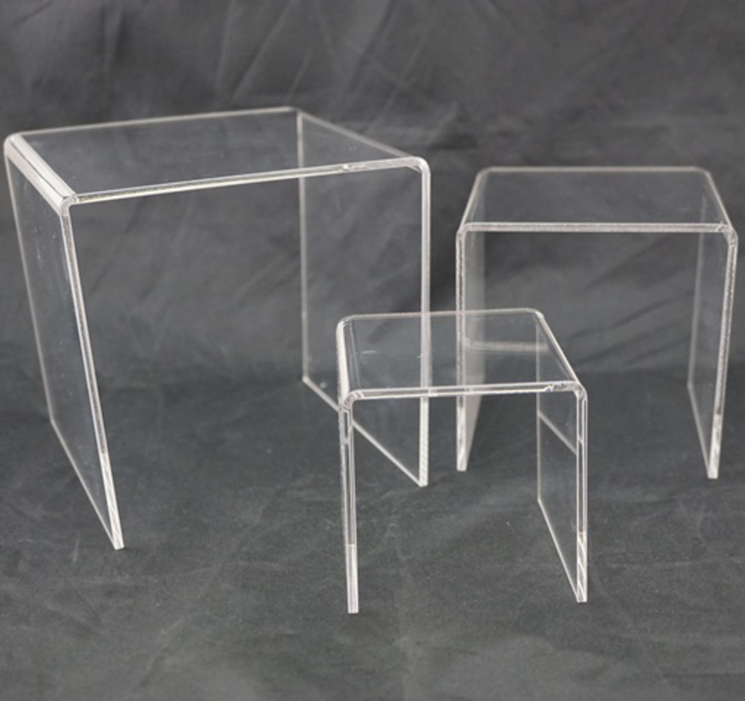 3 STEP CLEAR PERSPEX DISPLAY STAND (3 PCS SET) image 0