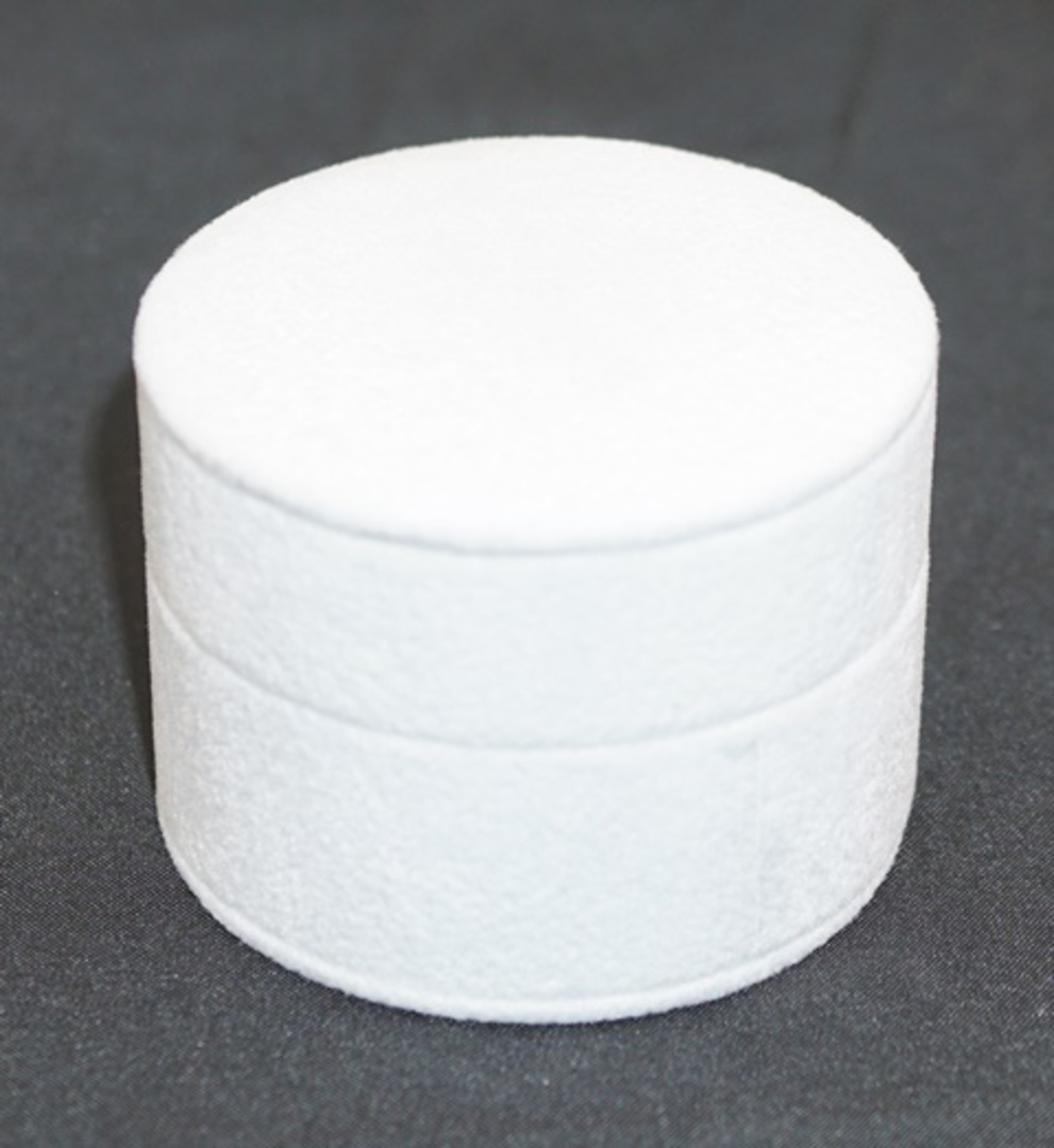 ROUND RING BOX WHITE SUEDE (SECOND QUALITY) image 0