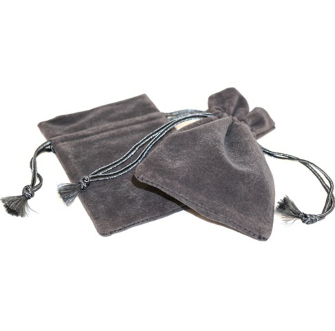 DELUXE CHARCOAL SUEDE PARTITION POUCH MEDIUM image 0