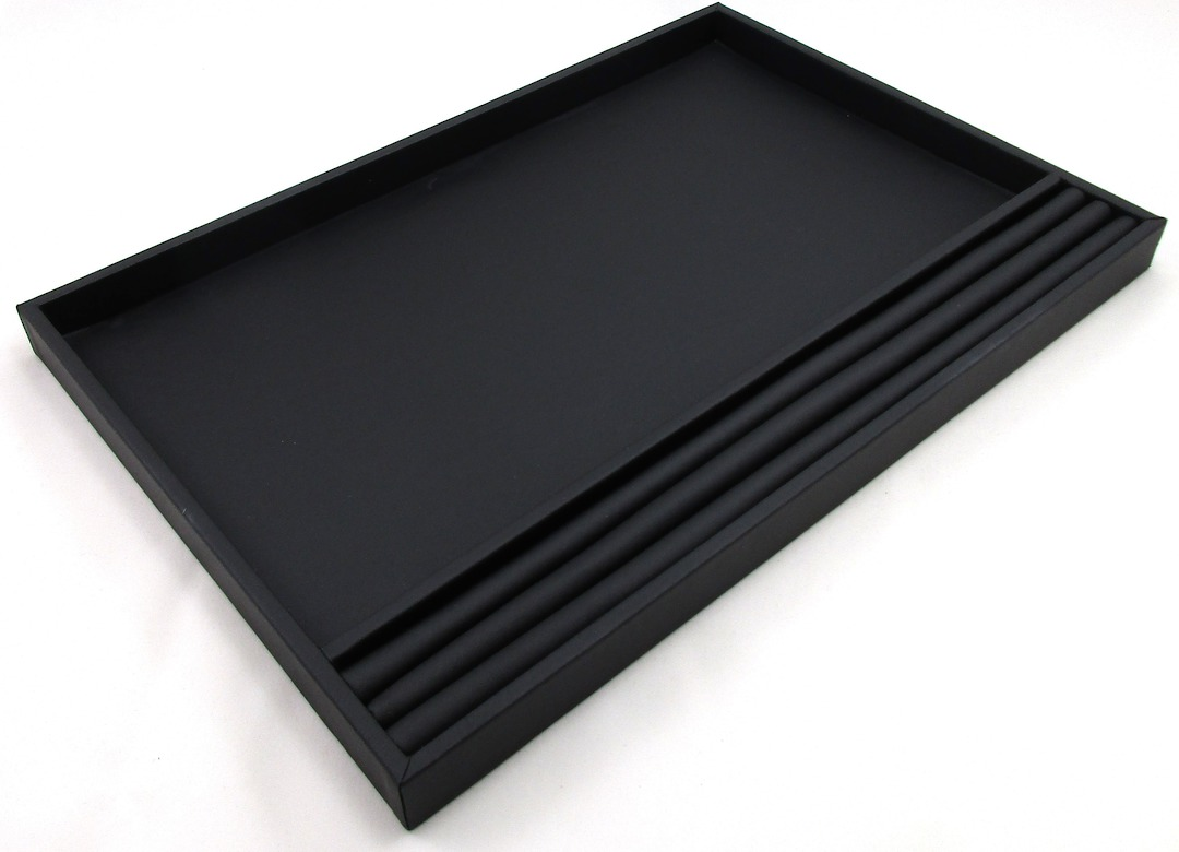 LARGE PRESENTATION/DISPLAY TRAY W/ROLL BLACK VINYL image 0