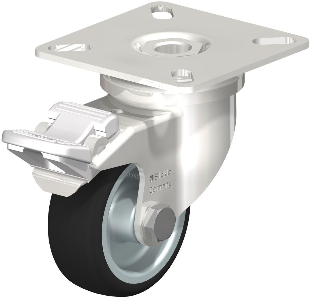 Swivel & Total Brake 50mm Rubber Castor - Stainless Steel - BSR50/SP-TB image 0