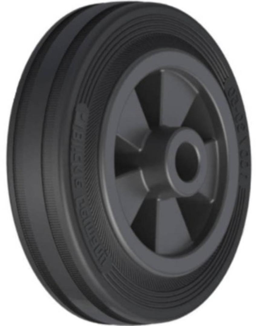 Black Rubber Wheel 100mm - SRK100 image 0