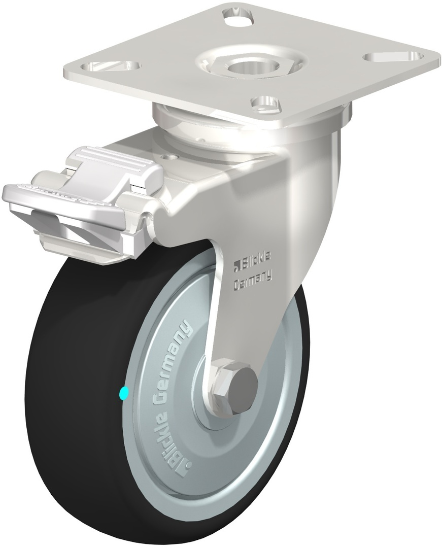 Swivel & Total Brake 75mm Rubber Castor - Stainless Steel - BSR75/SP-TB image 0