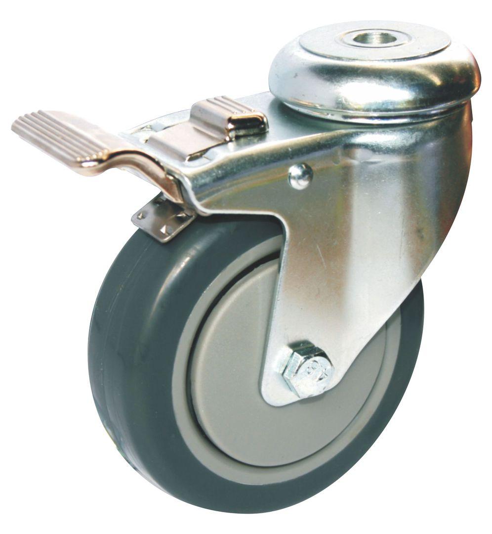 Swivel & Total Brake 100mm Rubber Castor - WCR100/H-TB image 0