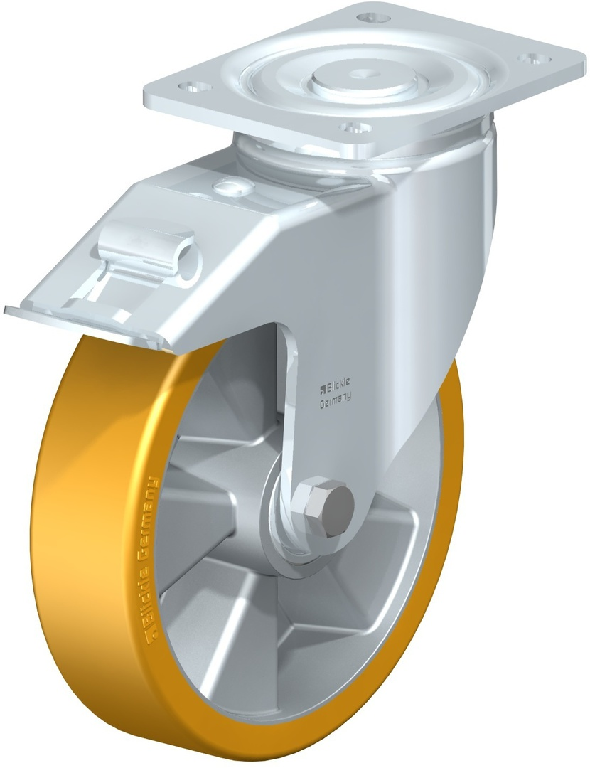 Swivel & Total Brake 200mm Urethane Castor - MXAU200/P-TB image 0