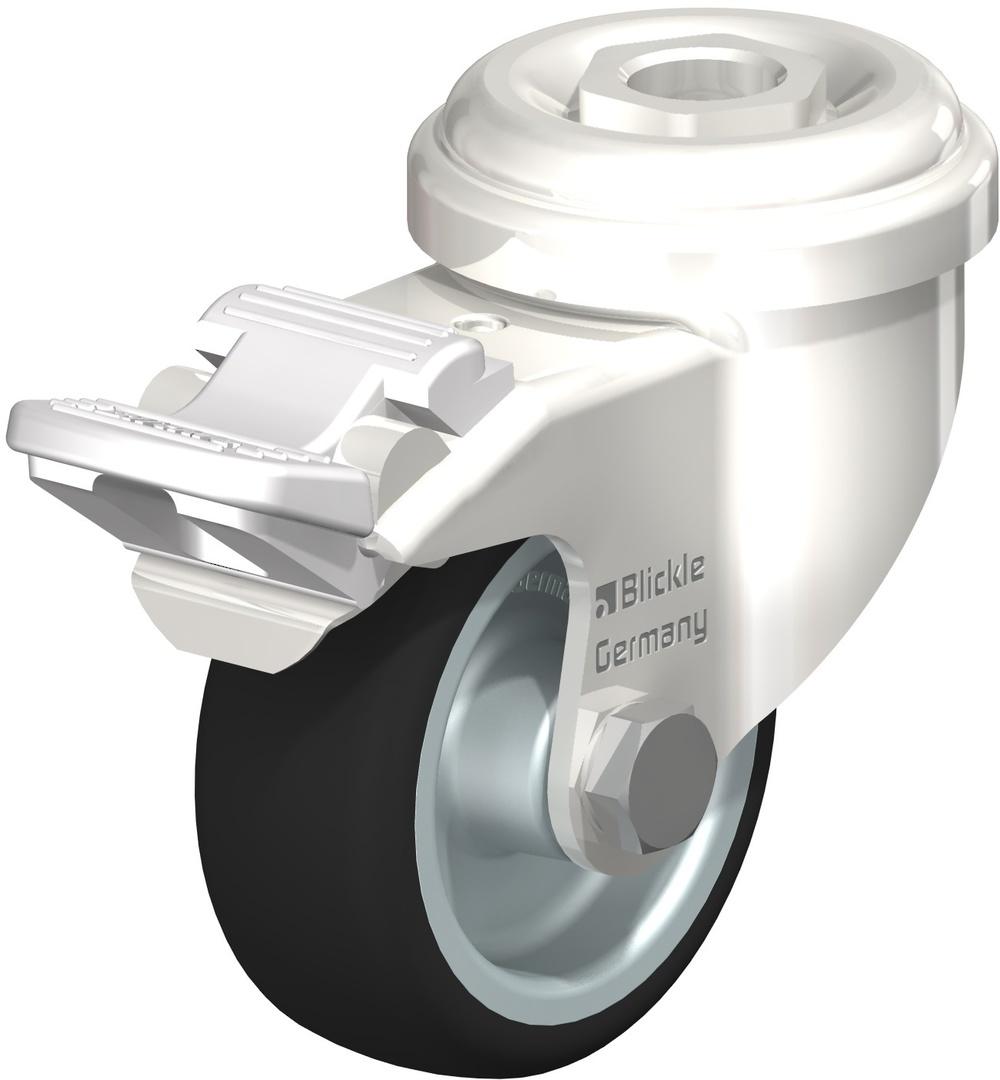 Swivel & Total Brake 50mm Rubber Castor - Stainless Steel - BSR50/SH-TB image 0