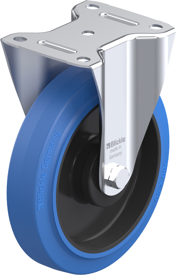 Fixed 200mm Elastic Rubber Castor - MHB200/F image 0