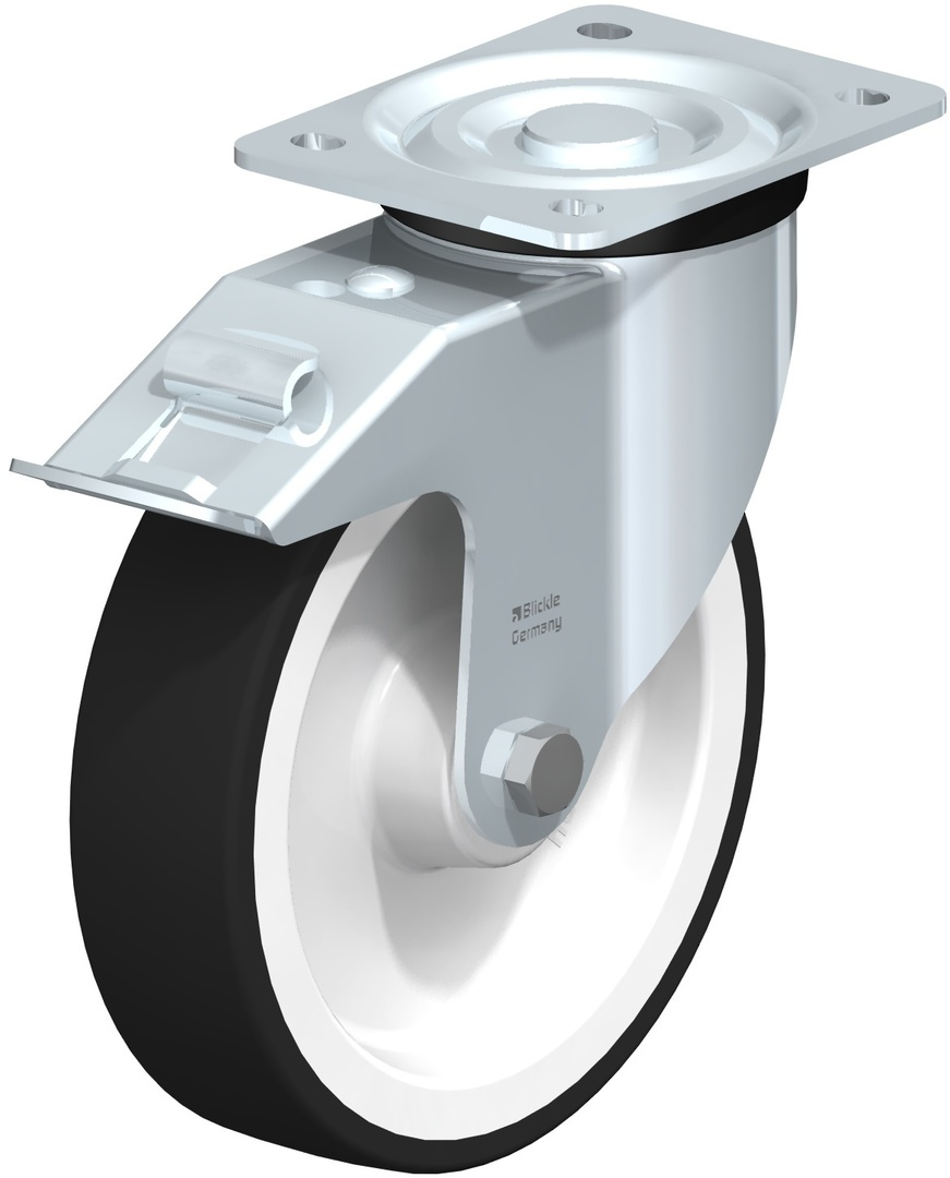Swivel & Total Brake 200mm Urethane Castor - BHU200/P-TB image 0