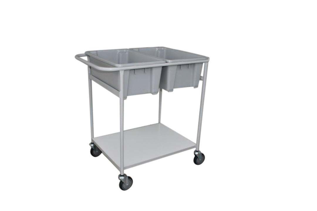 Plastic Bin Trolley - Double Bin & Shelf - BM2D image 0