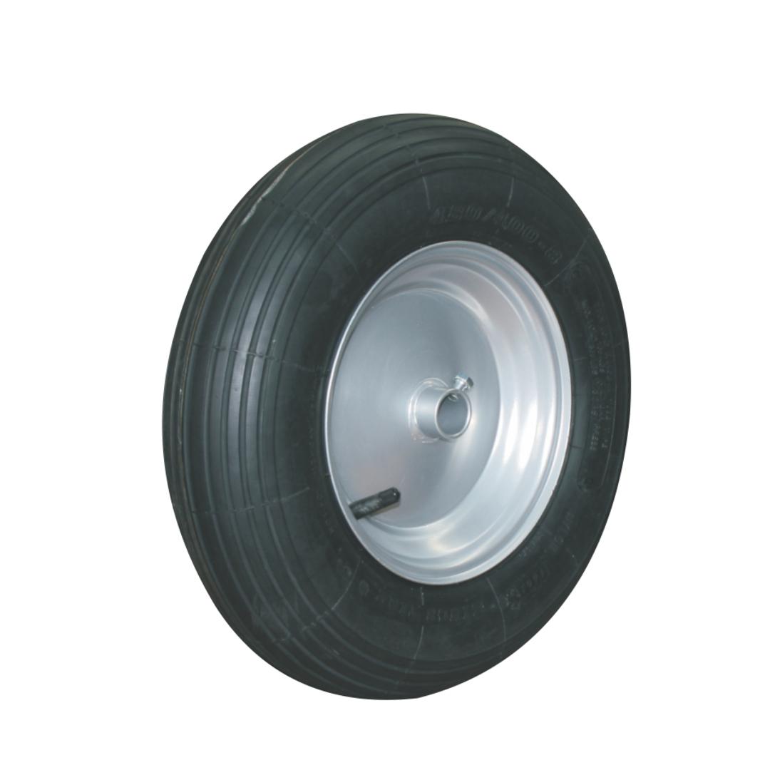 Pneumatic Wheel - Steel Rim - 400x6 Ribbed - WB150-400R image 0