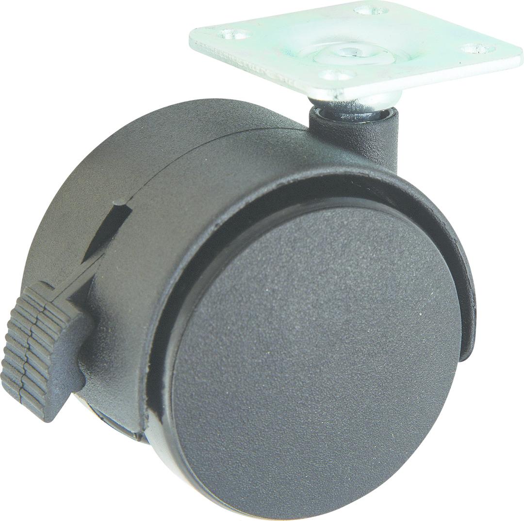 Twin Wheel Castor 50mm - Plate - Braked - TW50-P-B image 0