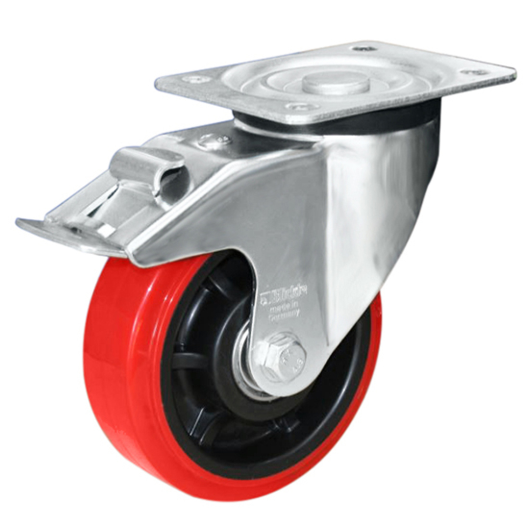 Swivel & Total Brake 200mm Urethane Castor - MHU200/P-TB image 0
