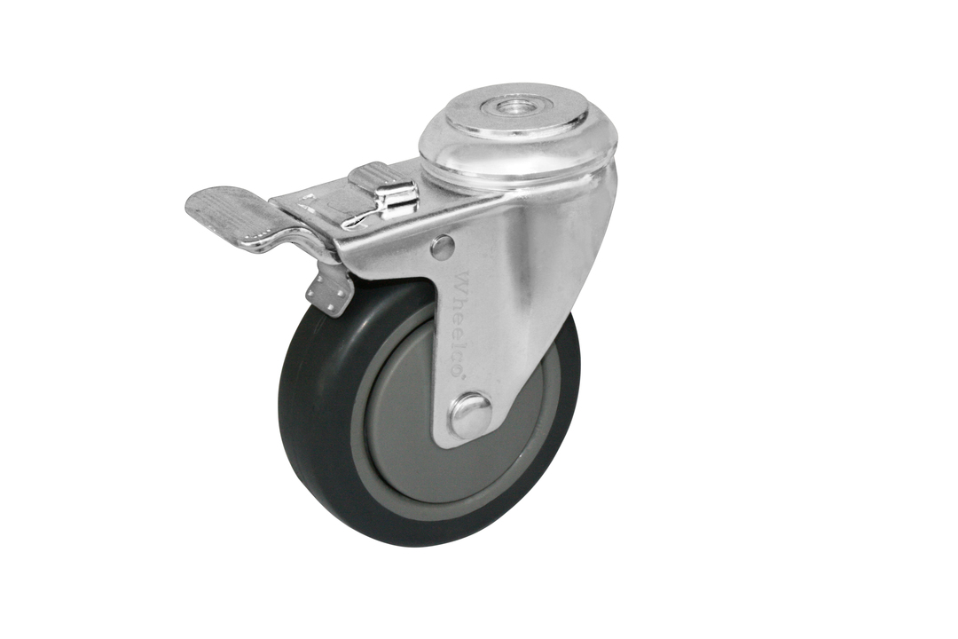 Swivel & Total Brake 100mm Rubber Castor - WCR100/H-TB image 0