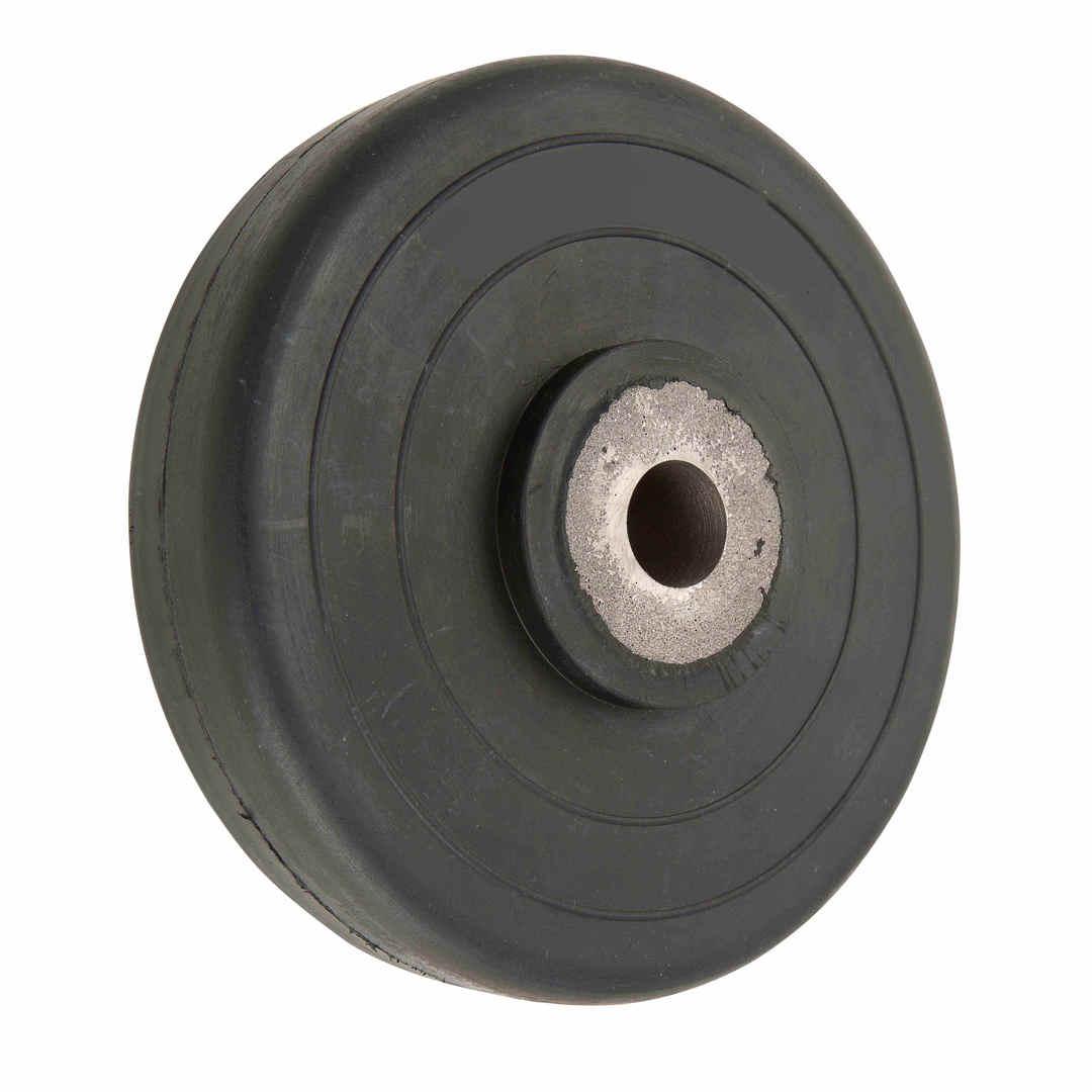 Black Rubber Wheel 200mm - Cast Iron Bush - SRC200 image 0