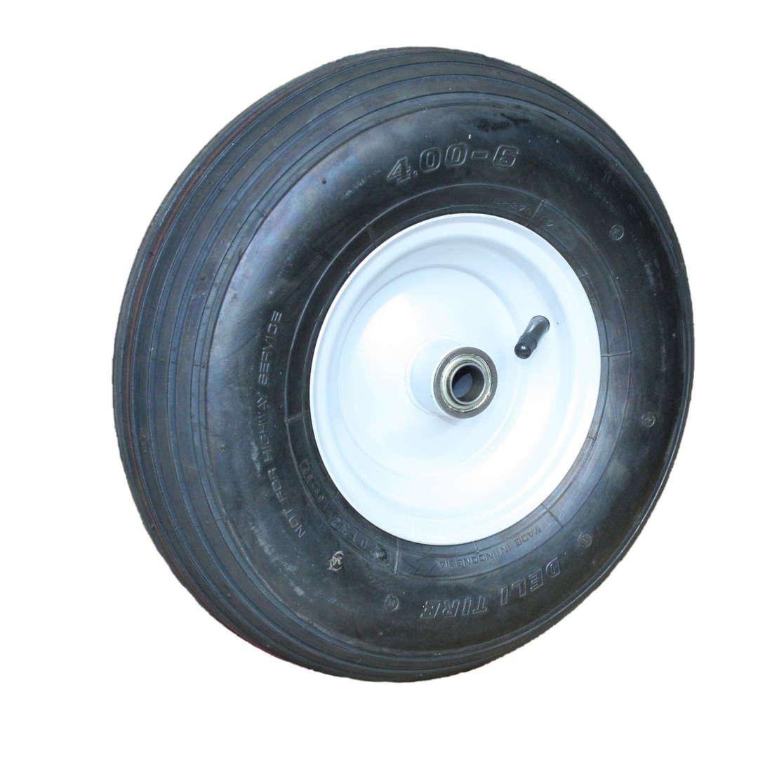 Pneumatic Wheel - Steel Rim - 400x6 Ribbed - BWE150-400R image 0
