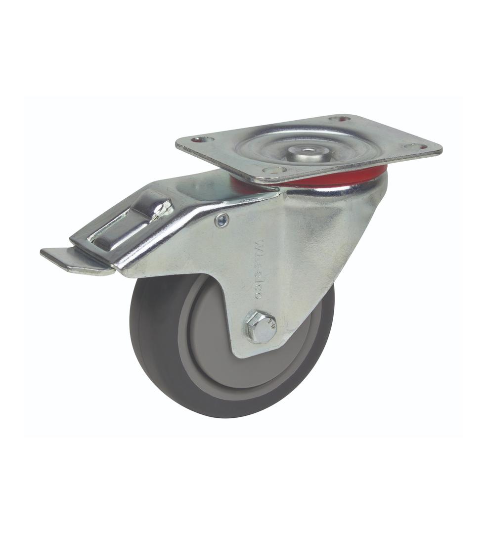Swivel & Total Brake 100mm Rubber Castor - MCR100/P-TB image 0