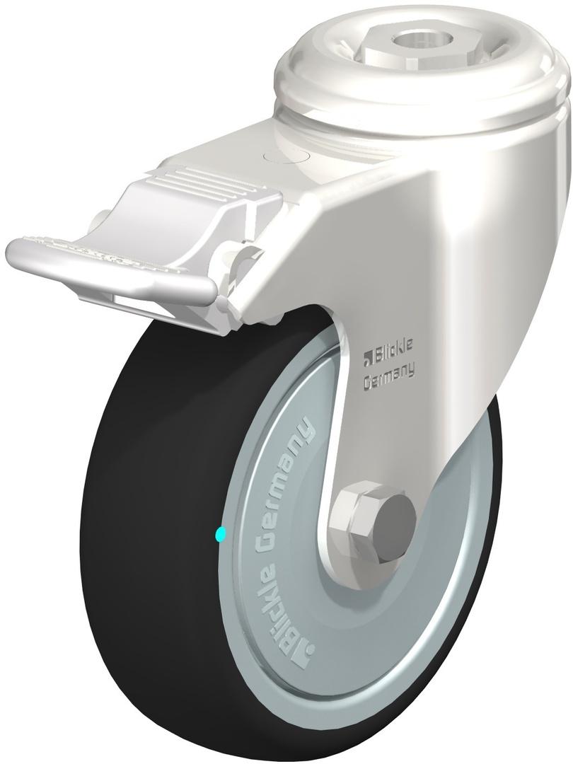Swivel & Total Brake 100mm Rubber Castor - Stainless Steel - WSR100/SH-TB image 0
