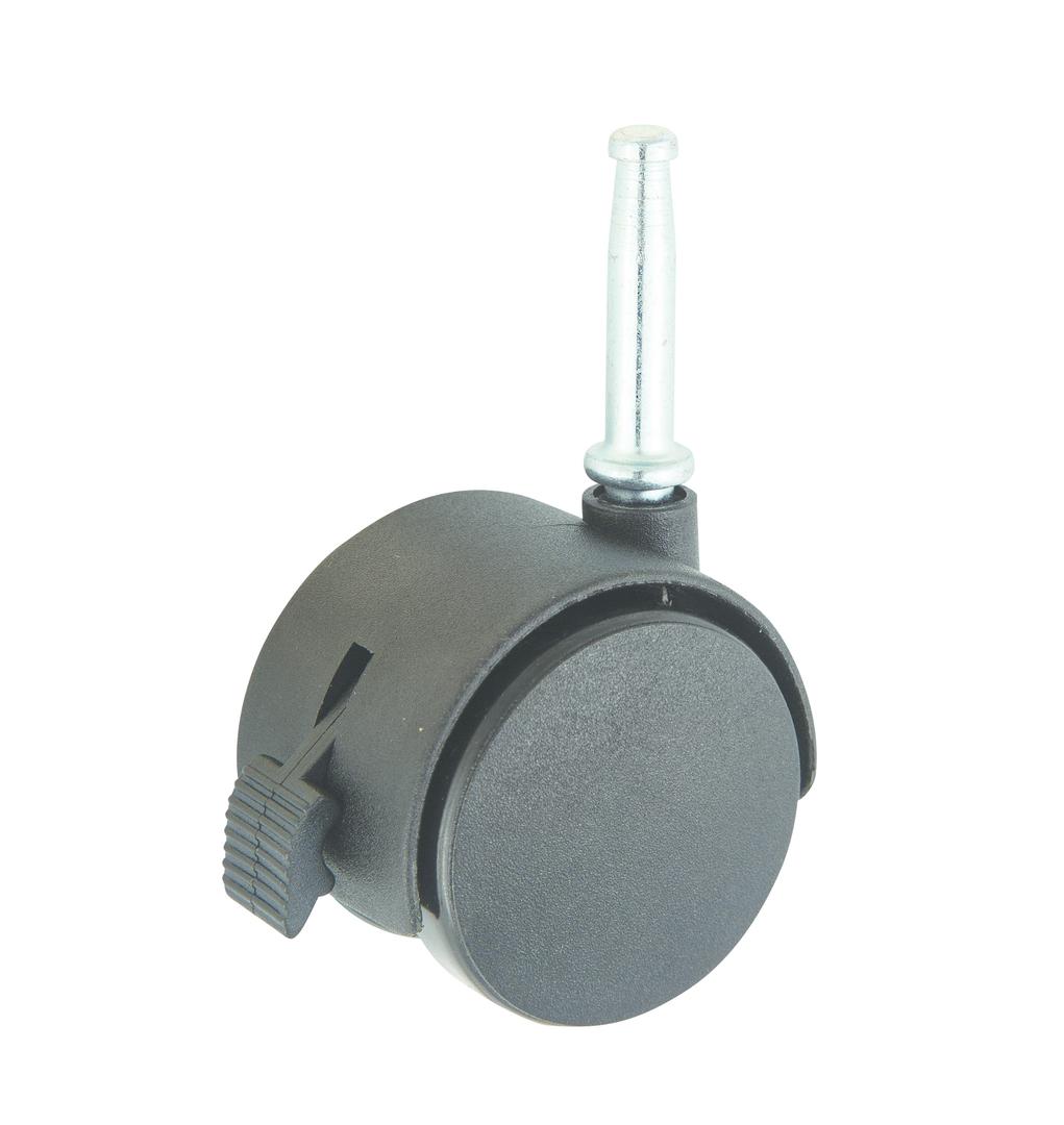 Twin Wheel Castor 40mm - Stem Fitting - Brake - TW40-S-B image 0
