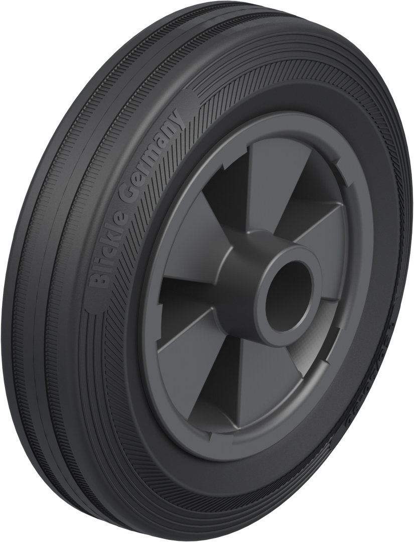 Black Rubber Wheel 150mm - SRK150 image 0