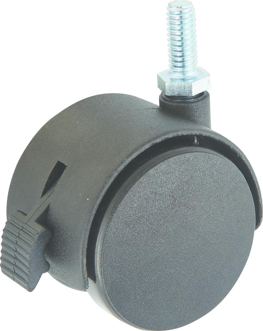 Twin Wheel Castor 50mm - 3/8 Thread - Brake - TW50-38-B image 0