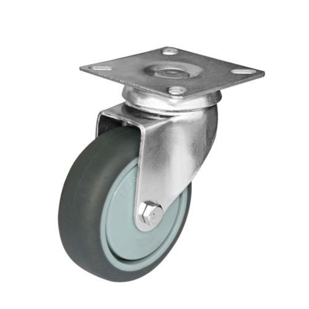 Swivel  75mm  grey rubber castor  KLR75/P image 0