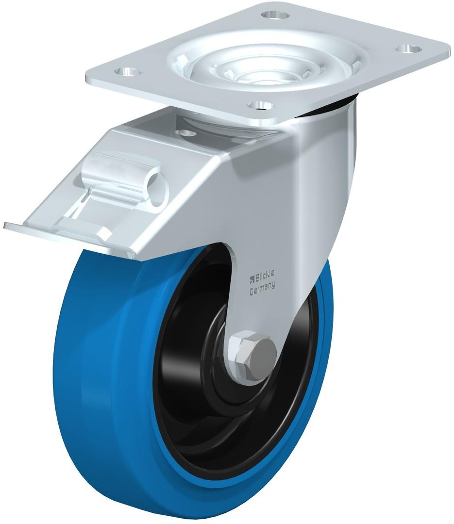 Swivel & Total Brake 150mm Elastic Rubber Castor - MHB150/P-TB image 0