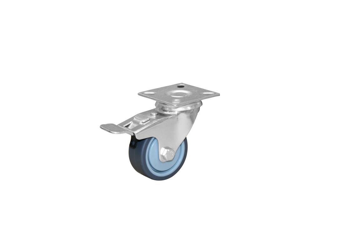Swivel & total brake 50mm grey rubber castor KLR50/P-TB image 0