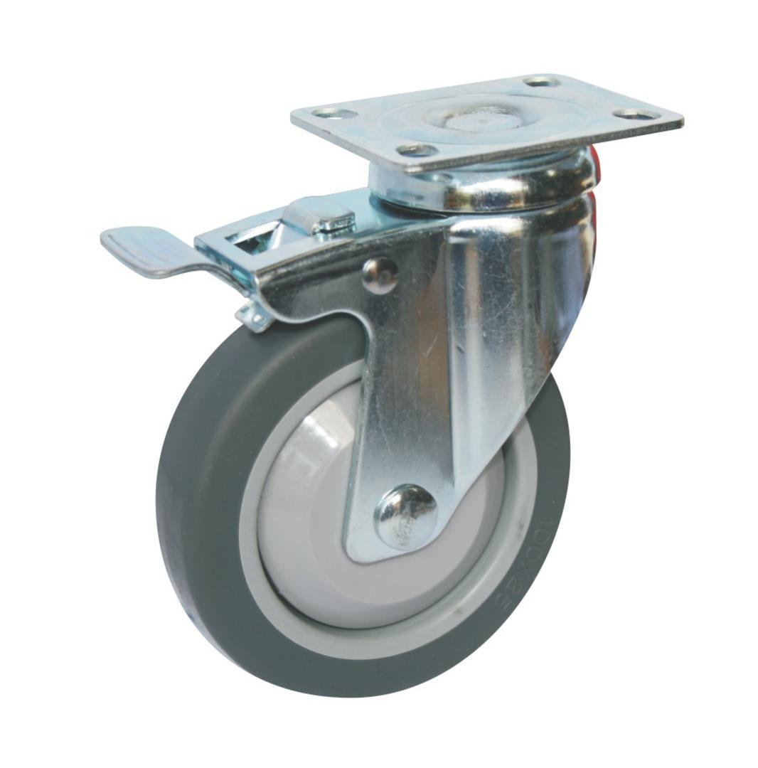 Swivel & Total Brake 100mm Rubber Castor - WLR100/P-TB image 0