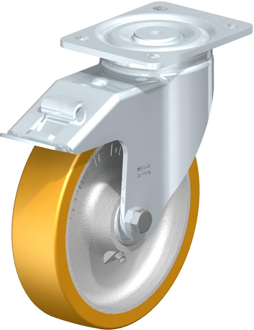 Swivel & Total Brake 200mm Heavy Duty Urethane Castor - MXU200/P-TB image 0