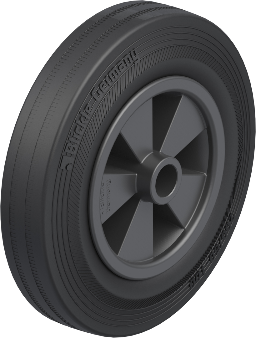 Black Rubber Wheel 200mm - SRK200 image 0