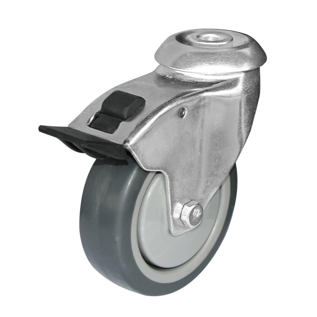 Swivel  total brake 100mm Rubber Castor - 100KG- HCR100/H-TB image 0