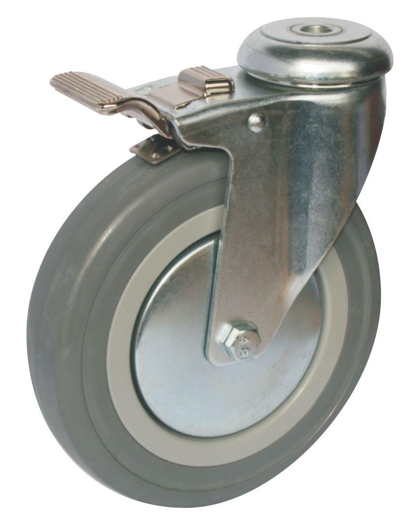 Swivel & Total Brake 150mm Rubber Castor - WCR150/H-TB image 0
