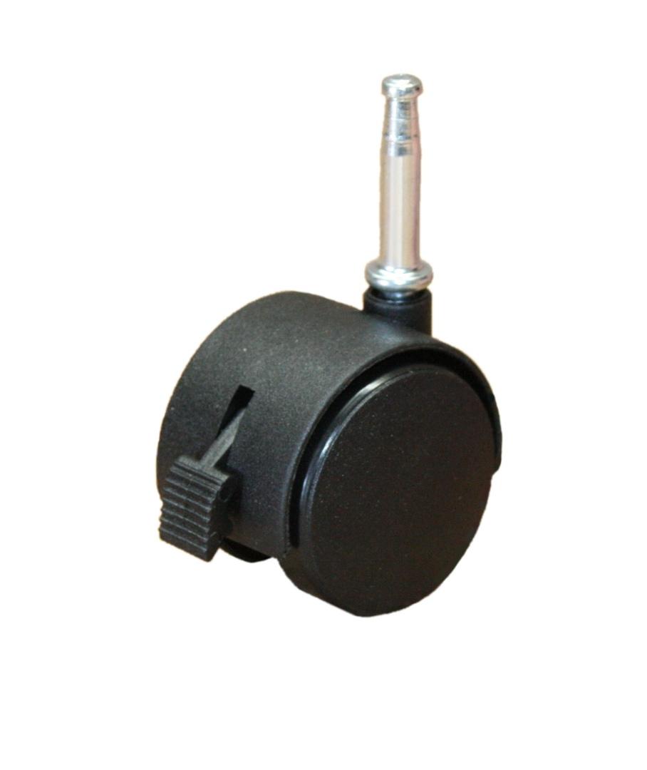 Twin Wheel Castor 50mm - Stem Fitting - Brake - TW50-S-B image 0