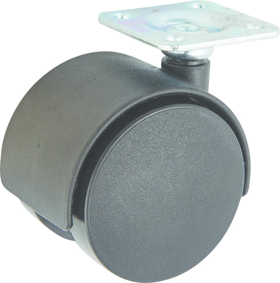 Twin Wheel Castor 50mm - Plate - TW50-P image 0