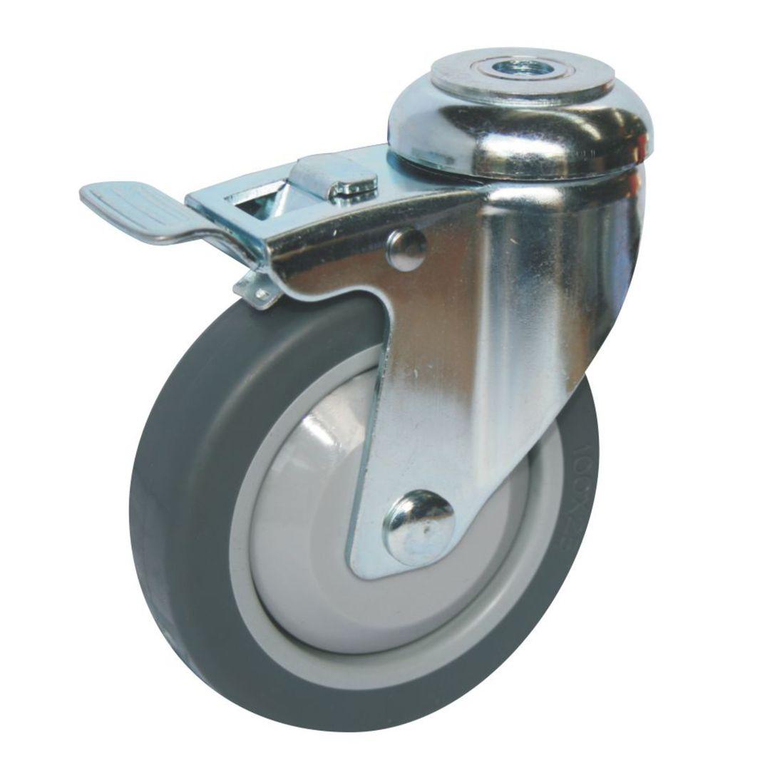 Swivel & Total Brake 100mm Rubber Castor - WLR100/H-TB image 0